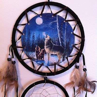 """Cherokee 26"""" Turquoise Dream Catcher, Wolves Printed on Canvas, Feathers, Beads"""