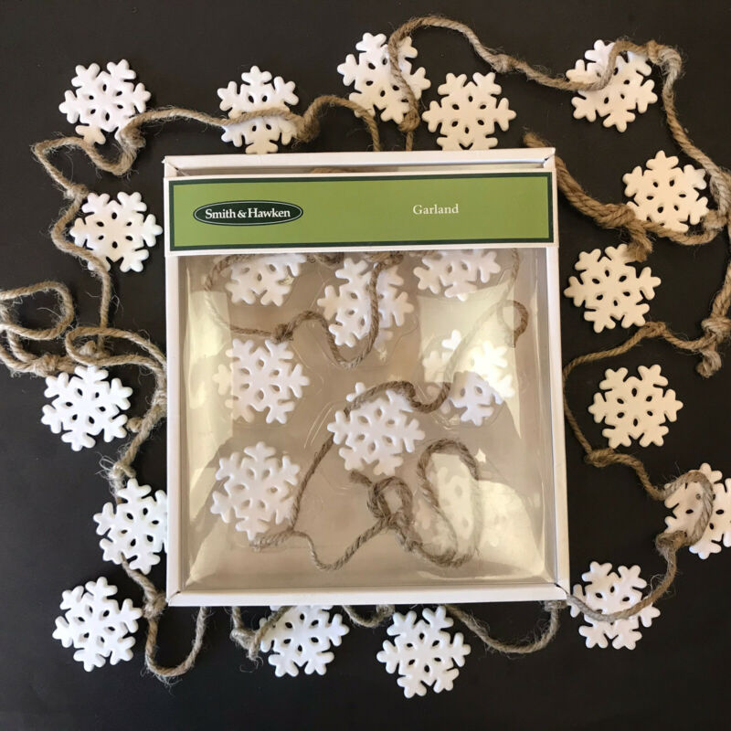 Smith & Hawken 3 sets 12 ft. ceramic SNOWFLAKE GARLAND burlap cord SOLD OUT 2012