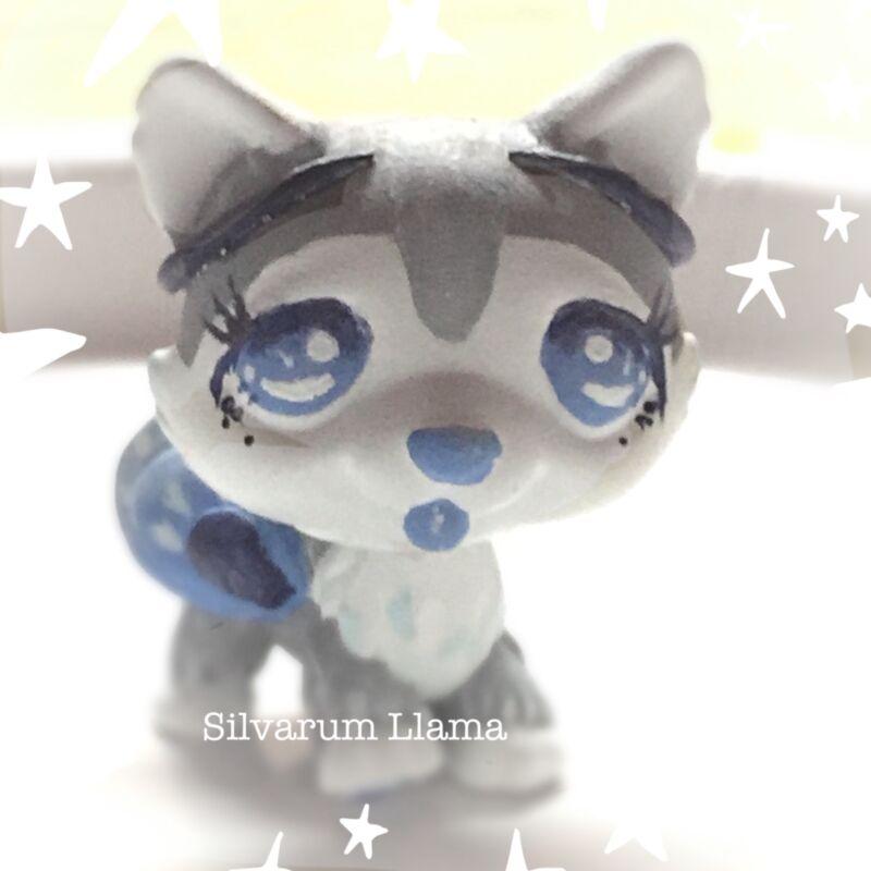 OOAK Blue Grey White Fairy Husky Dog*Littlest Pet Shop Haind Painted Husky