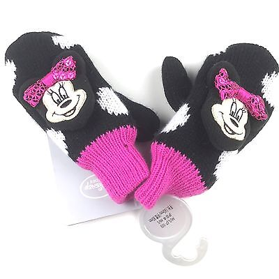 Disney Store Minnie Mouse Mittens Medium Large 7-10 Girls Black Pink Polka Dot  (Mouse Mittens)