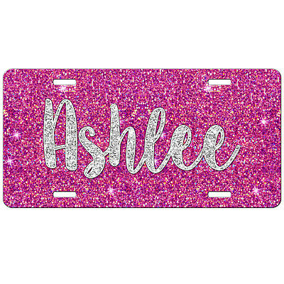 Pink Glitter Like Personalized Monogrammed License Plate Car Tag Front Plate