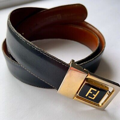 "Vintage FENDI Women's Black Leather ""FF"" Logo Gold Belt Fits up to 42"""
