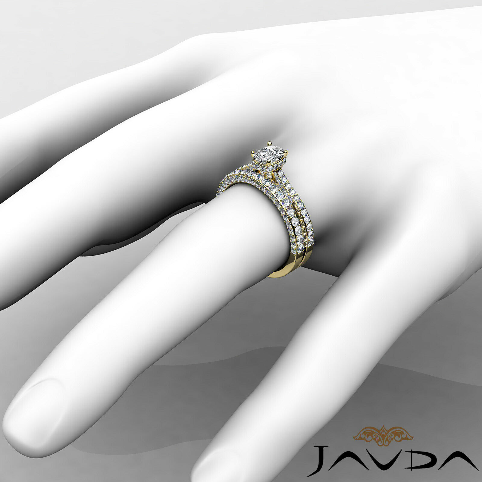2.85ctw Pave Circa Halo Bridal Cushion Diamond Engagement Ring GIA F-VS1 W Gold 11