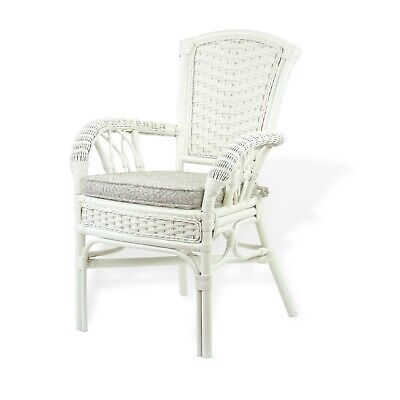 Alexa Dining Armchair White Color with Cushion Natural Rattan Wicker Handmade  ()