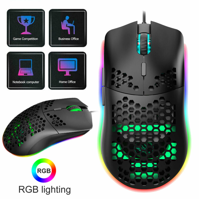 6400 DPI RGB Light Wired Gaming Mouse PC Laptop Mice Backlit 6 Buttons For PC