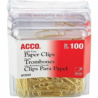 ACCO Regular Paper Clips No. 2 100 Clips 4BX/PK Gold 72554 Acco Gold Paper