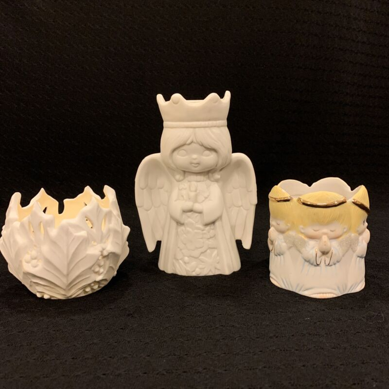 Vintage Ceramic Bisque Christmas Candle Holder Lot of 3, 2 Angels & Holly