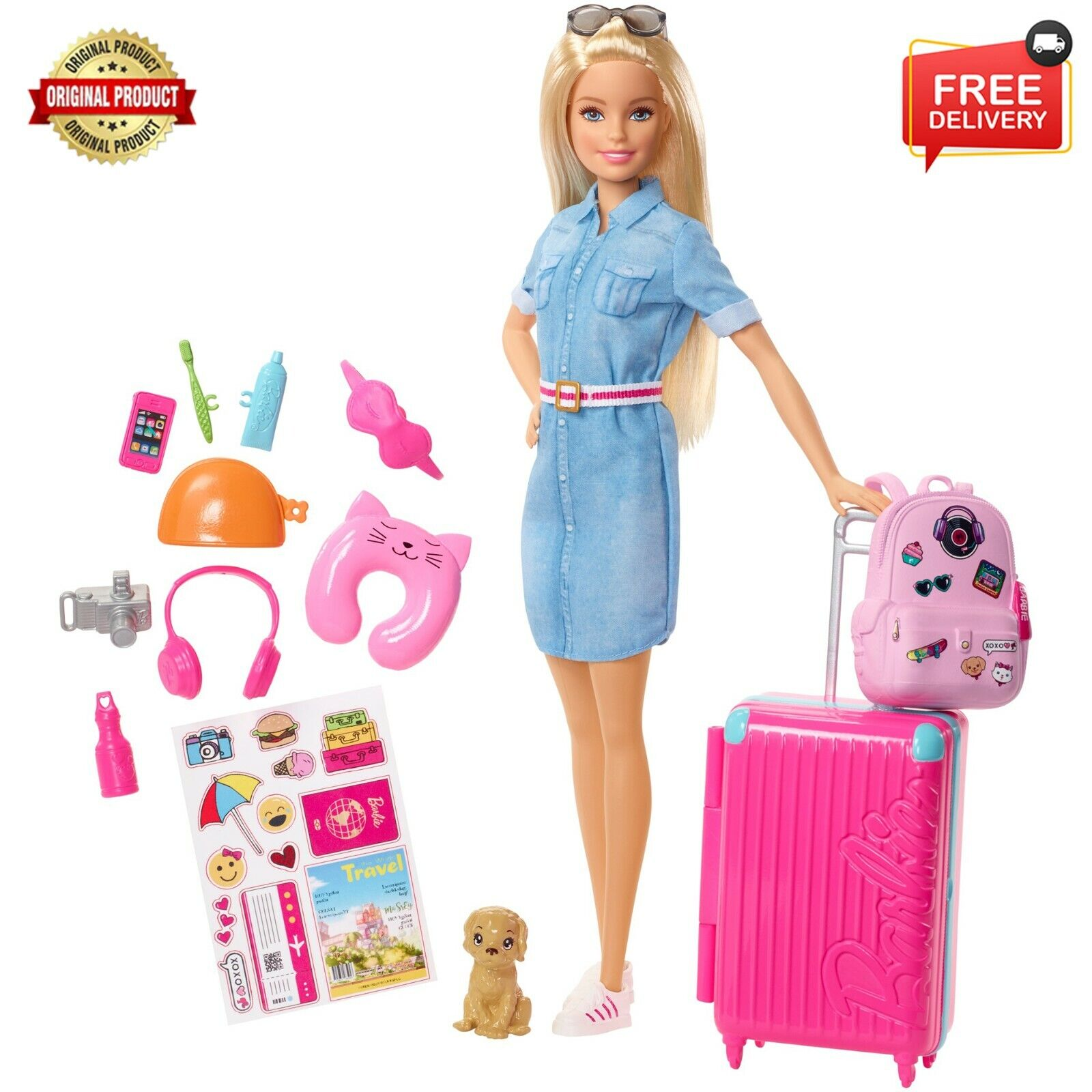 New Barbie Doll and Travel Set with Puppy, Luggage & 10+ Accessories