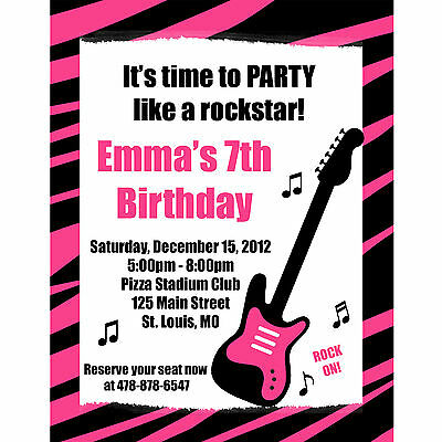Rock Star Birthday Invitations (20 Personalized Birthday Invitations - Pink Zebra Rock)