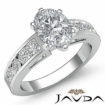 Oval Diamond Engagement Channel Set Ring Certified by GIA F VS2 Clarity 1.75 Ct