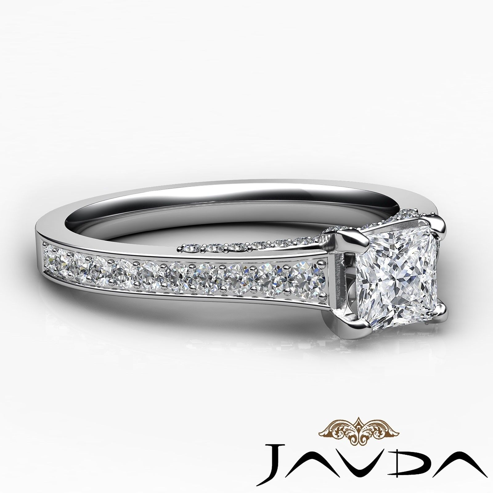 1.46ctw Tapered Pave Princess Diamond Engagement Ring GIA G-VS2 White Gold Rings 5