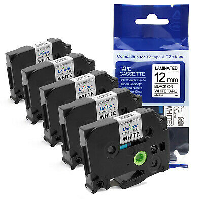 5pk Tze-231 Compatible For Brother P-touch Tz-231 Label Maker Tape 12mm Pt-d210