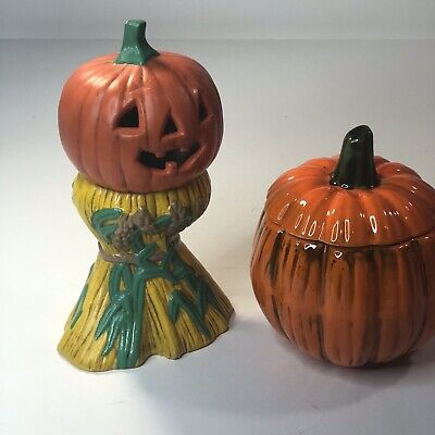 Lot 2 Hand Painted Ceramic Halloween Pumpkin Figurines Haystack Candy Dish 1977