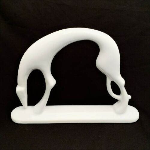 Royal Haegar White Ceramic Greyhound/Whippet Dog Art Deco Style Figurine