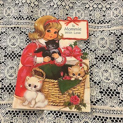 Vintage Greeting Card Christmas Cute Girl Kittens Basket
