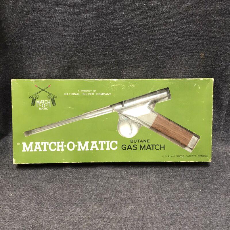 Vtg Gun Lighter Match-O-Matic Butane Gas Match Silver Vintage Fire Auto Pistol