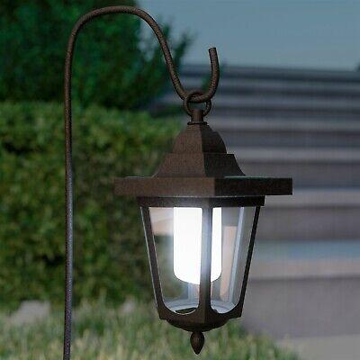 2 Pack LED Solar Hanging Lights Coach Lanterns on Shepherds Hook Metal Pole