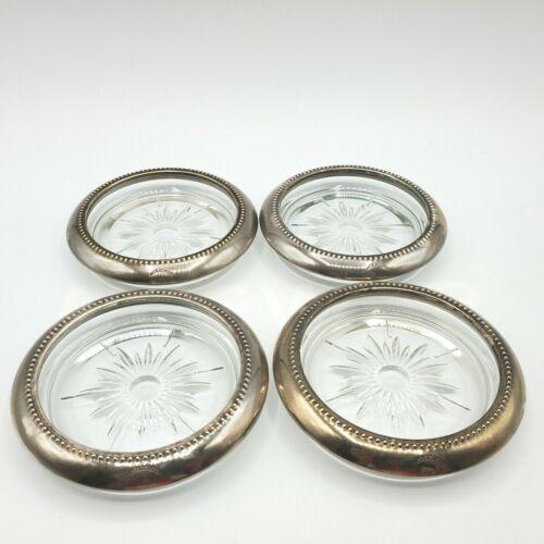 Vintage Glass Coasters by Blackinton Silverplate Trim Starburst Pattern Set Four