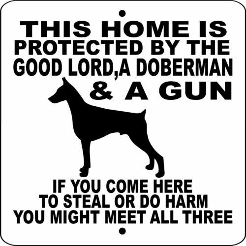 "DOBERMAN PINSCHER DOG SIGN,NO TRESPASSING,9"" x 9"" ALUMINUM,GUARD DOG,GLDPG9x9"