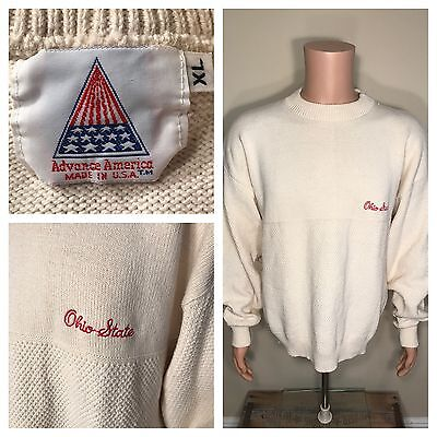 Vtg Ohio State University Sweater Embroidered Script Sz Xl Rugby Advance America