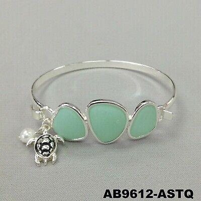 Sea Turtle Pearl Aqua Stone Pendant Silver Finish Hook & Eye Bangle (Eye Turtle)