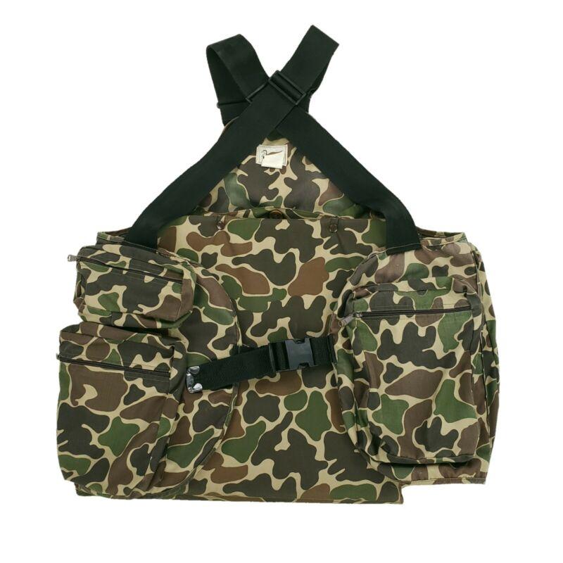 Vintage Duxbak Duck Camo Game Pocket Padded Seat Hunting Vest Men