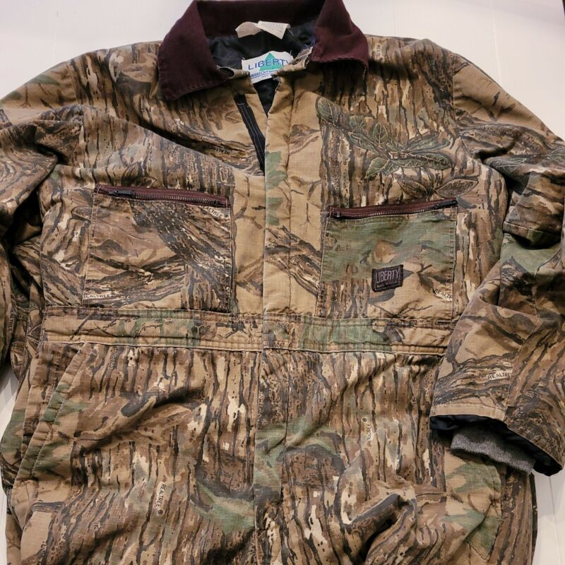 """Vintage 1980s USA Made Liberty Realtree Insulated Coveralls Sz XL 46-48"""" Chest."""