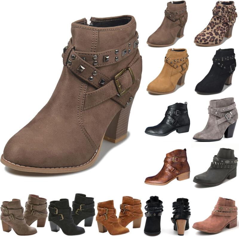 Women Retro Buckle Ankle Boots Low Mid Block Heels Shoes Mot