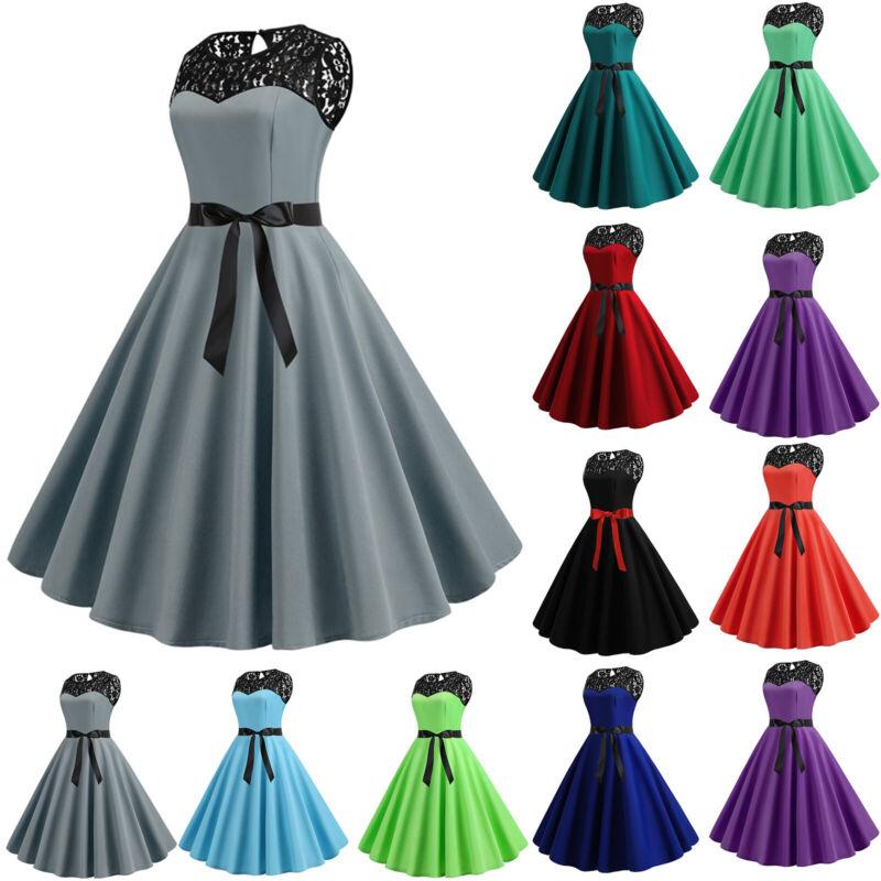 Damen Spitze Abendkleid Party Hochzeit Ballkleid Rockabilly Petticoat Tanzkleid