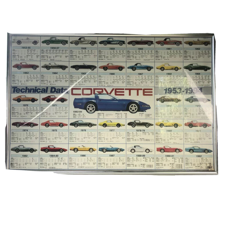 Corvette Technical Evolution Data Poster 1953 to1994 Specifications Car No Frame