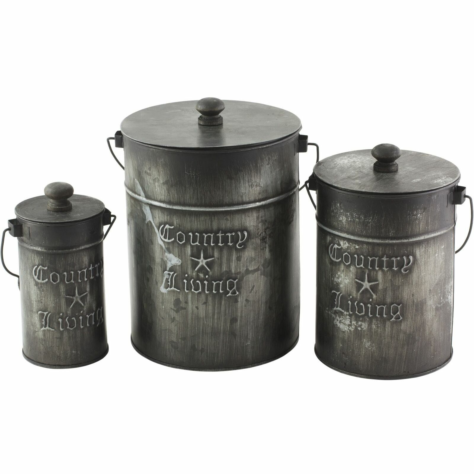 Your Heart's Delight Country Living Canisters + Lids, Set/3