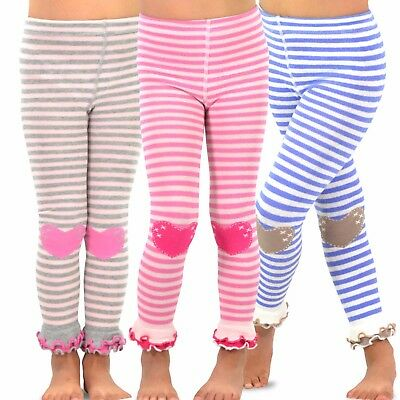 TeeHee Kids Girls Footless Tights Ruffle Bottom 3 Pair Pack (Stripe with Heart)
