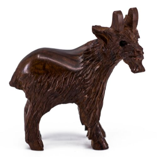 """Unique Hand Carved Ironwood Goat Figurine Wood Carving 3.25"""" High Made In USA"""