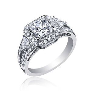 2.60 Ct Certified Diamond Engagement Ring Princess Cut 14k White Gold Prong Set