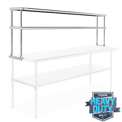 Stainless Steel Commercial Wide Double Overshelf - 12 X 72 - For Prep Table
