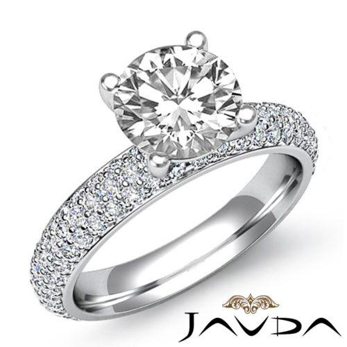 Natural Round Diamond Engagement Pave Set Ring GIA F SI1 14k White Gold 2.58ct