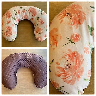 Boppy Nursing Pillow Cover Handmade Floral Brown Minky