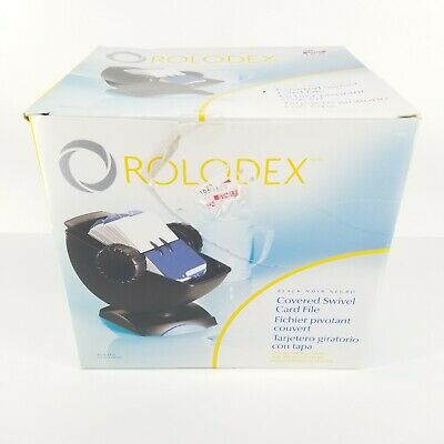 Rolodex Covered Swivel Card File Black Plain Cards In Box Office Equipment