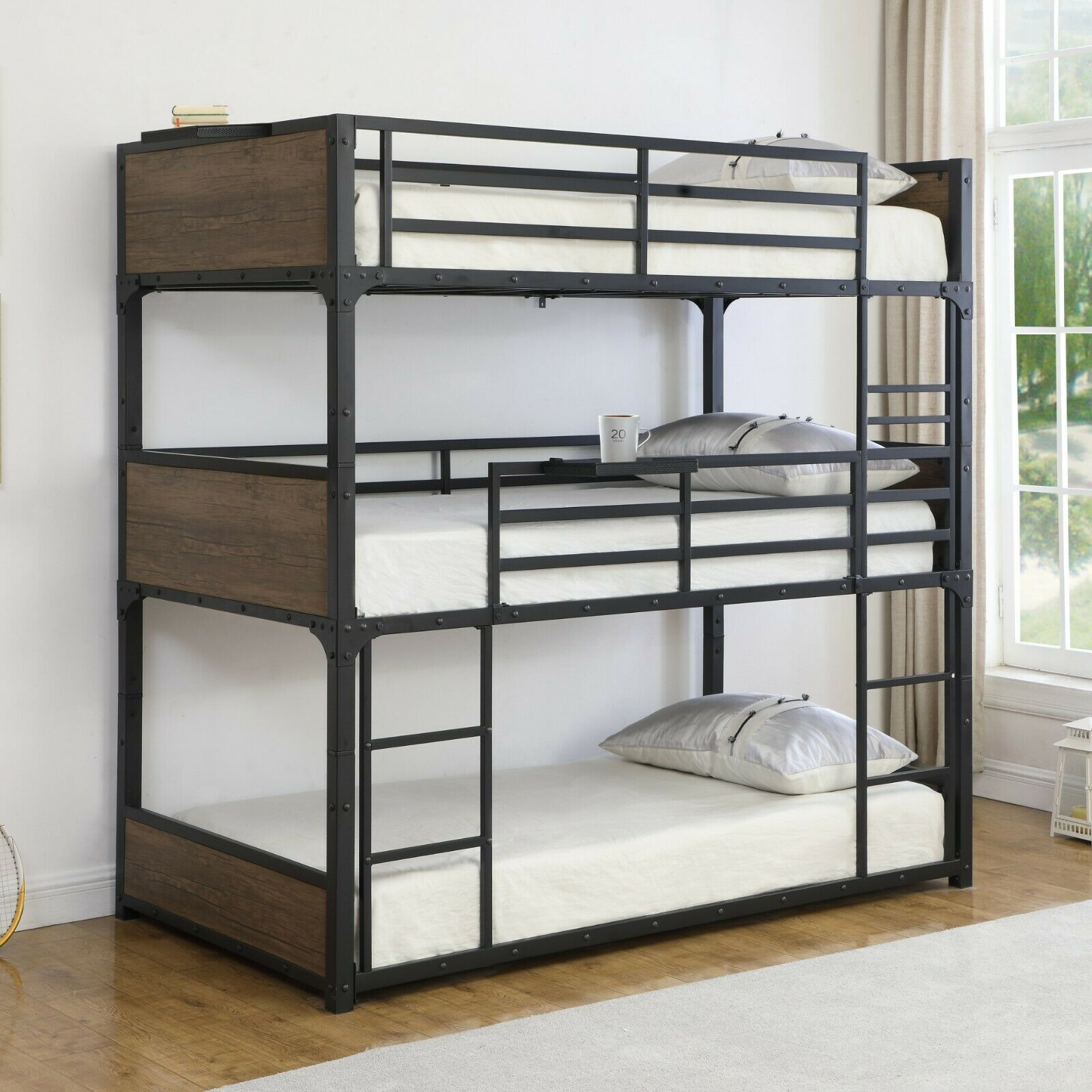 Industrial Heavy Duty Metal Bunk Bed with Mattresses Include