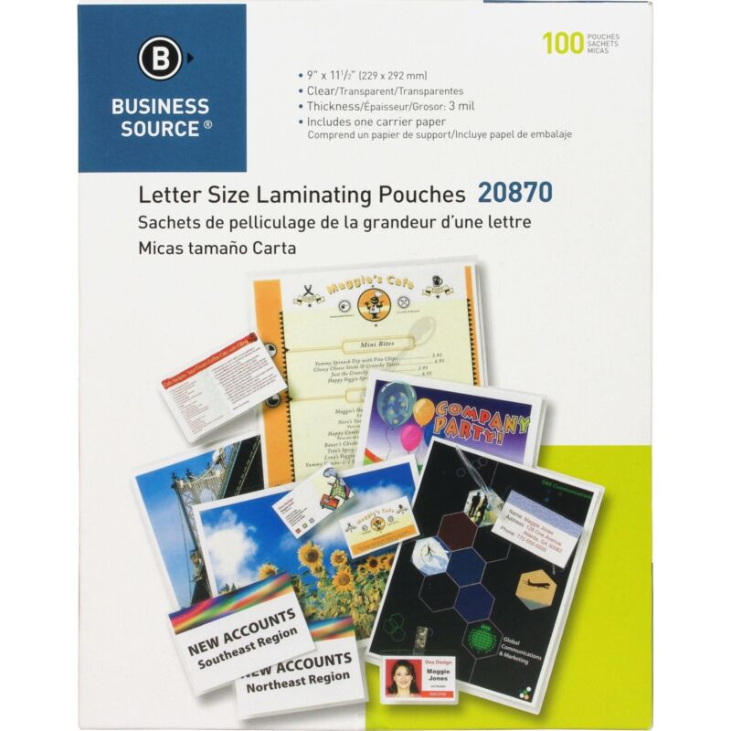 """Business Source Laminating Pouch Ltr 3Mil 9""""x11-1/2"""" 100/BX Clear 20870"""