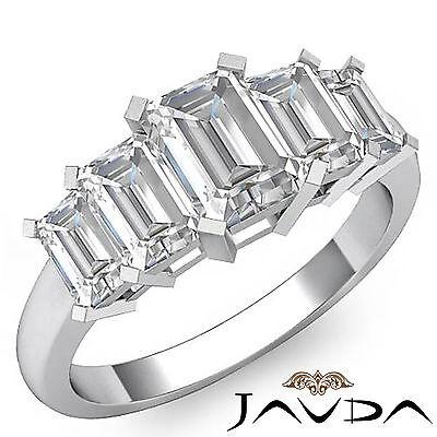 5 Stone Emerald Diamond Flashy Engagement Ring GIA H VS2 14k White Gold 2.5 ct