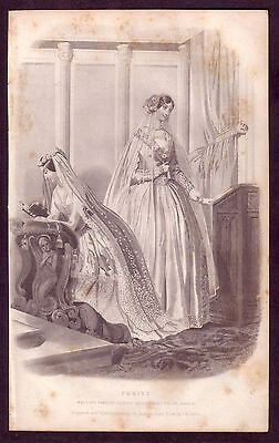 1850s Antique Wedding Dress Bridal Gown Costume Fashion Art Engraving Print
