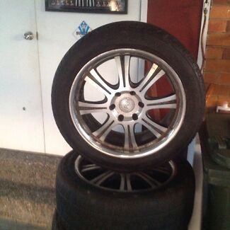 Tyres and rims suit hilux or standard 6 stud pattern