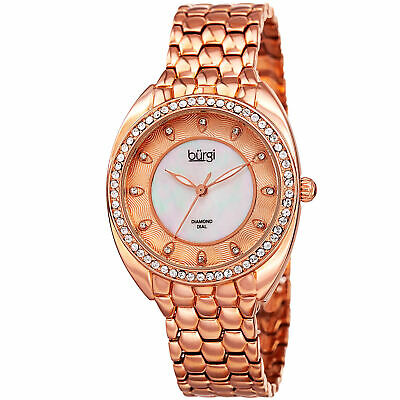 Women's Burgi BUR145RG Crystal Bezel Mother of Pearl Diamond Dial Quartz Watch