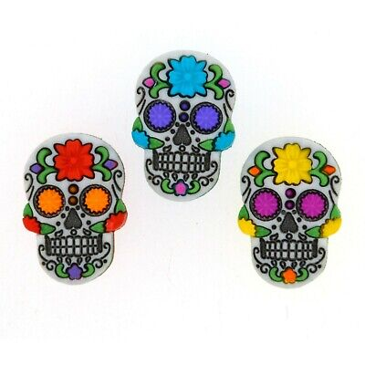 Dress It Up Buttons *SUGAR SKULL* 3 Pieces - Day Of the Dead Flower Craft Sewing