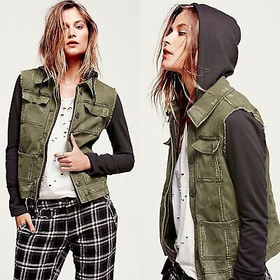 Free People Knit Hooded Twill Jacket (Size: XS)