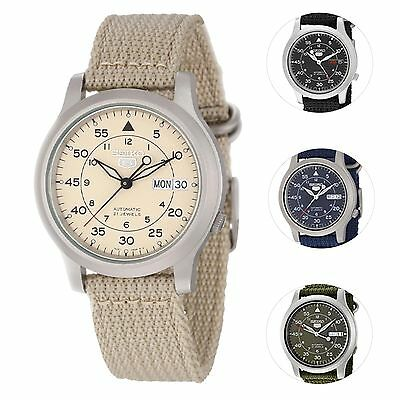 Image of Seiko 5 Men's Automatic Stainless Steel Watch with Canvas Strap