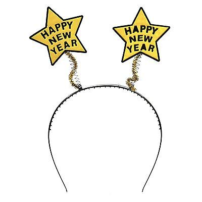 Happy New Year Years Eve NYE Ball Party Fancy Dress Up Headbands w/ Gold Stars ()