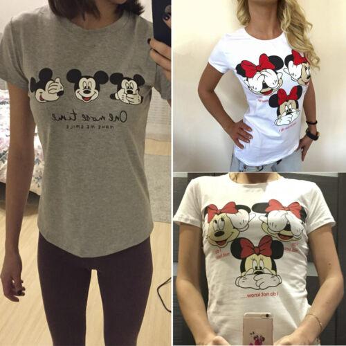 Sommer Bluse Damen Minnie Mickey Maus Kurzarm Tee Shirt T-shirt Tops Oberteile