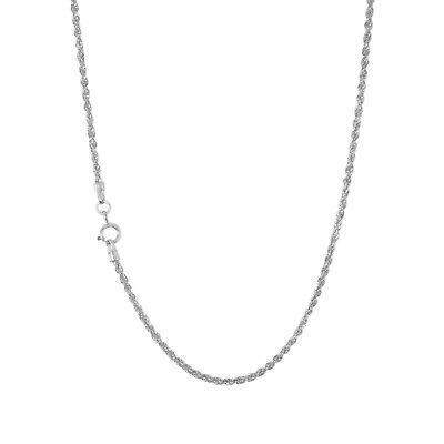 """14K White Gold Womens Dainty 1.5mm Diamond Cut Rope Chain Pendant Necklace 18"""""""